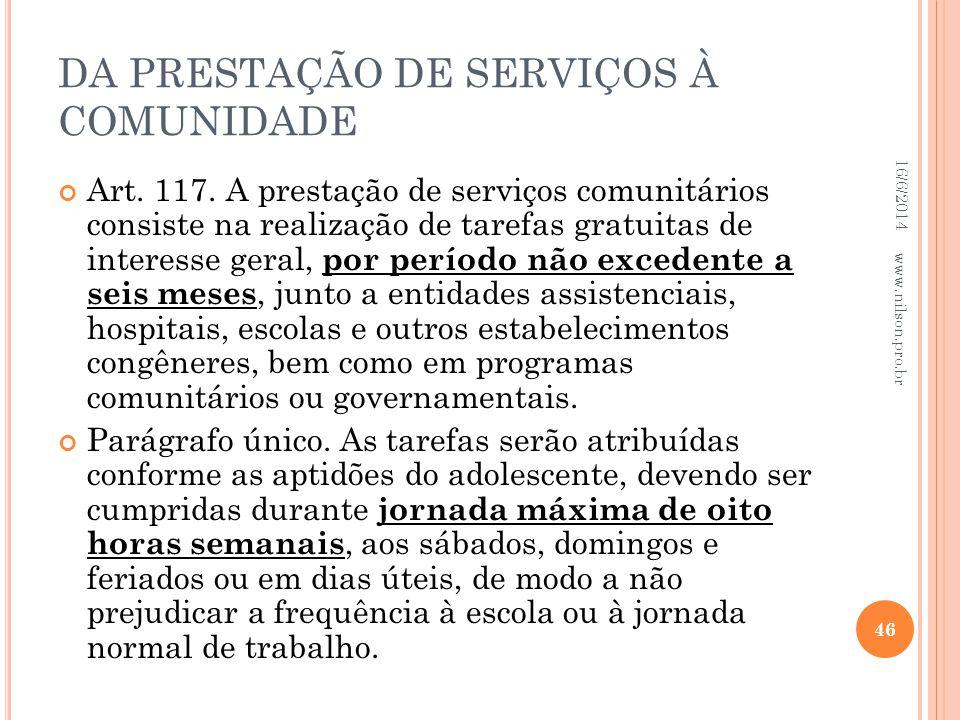 DA PRESTAÇÃO DE SERVIÇOS À COMUNIDADE