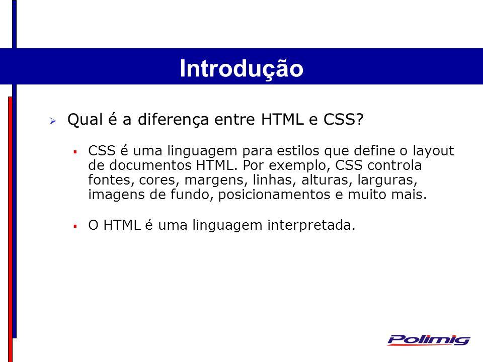 Introdução Qual é a diferença entre HTML e CSS