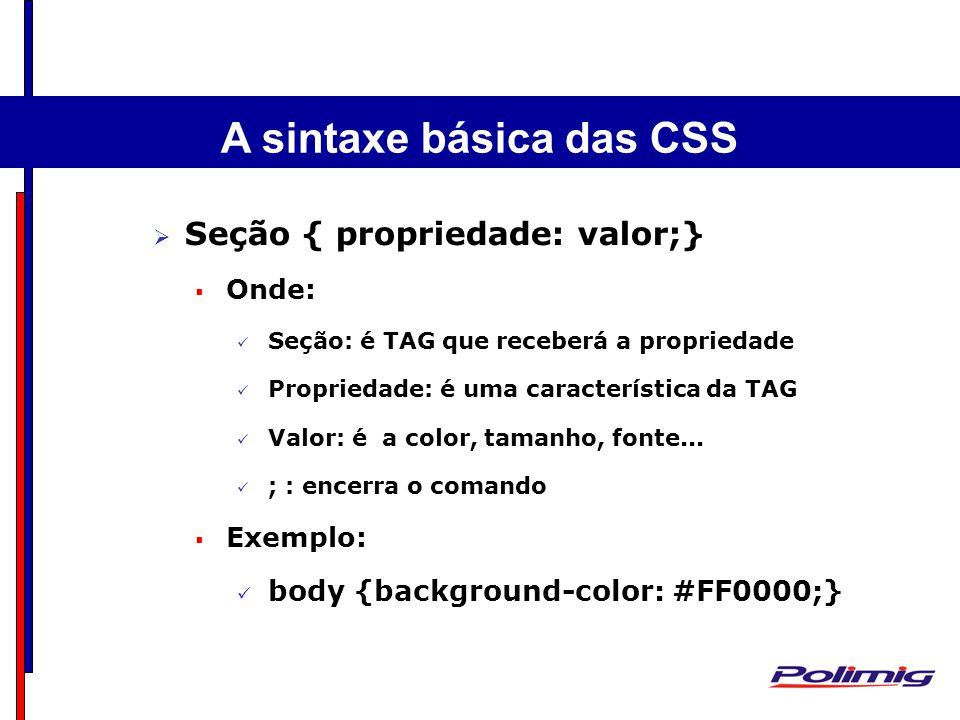 A sintaxe básica das CSS