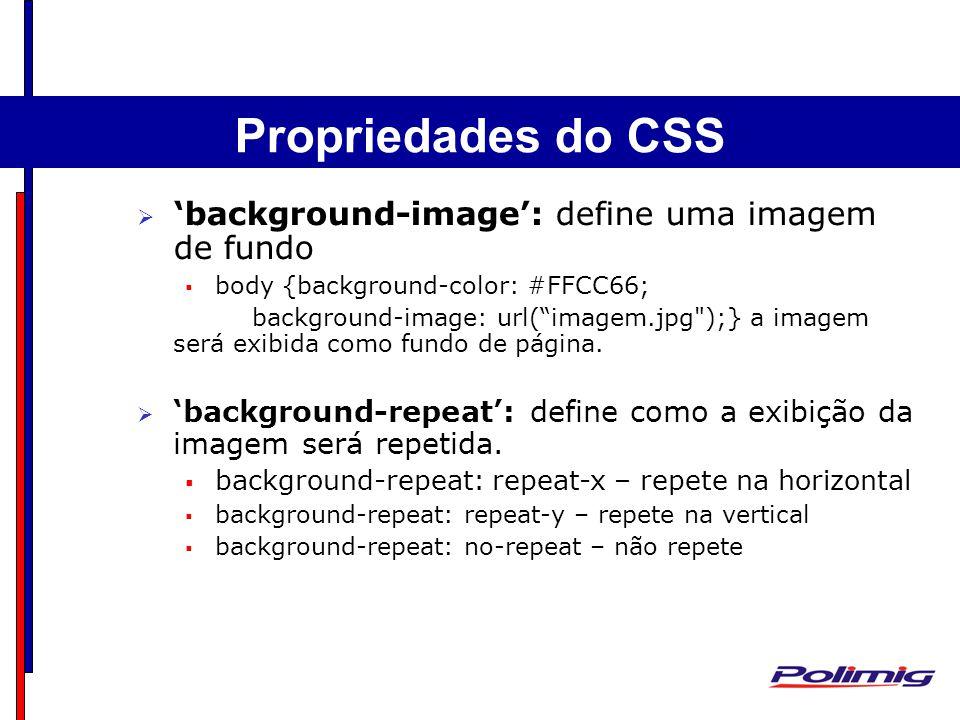Propriedades do CSS 'background-image': define uma imagem de fundo