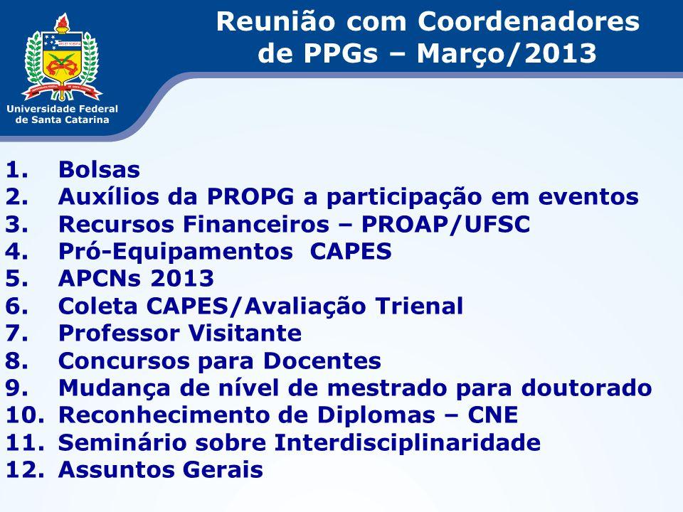 Reunião com Coordenadores de PPGs – Março/2013