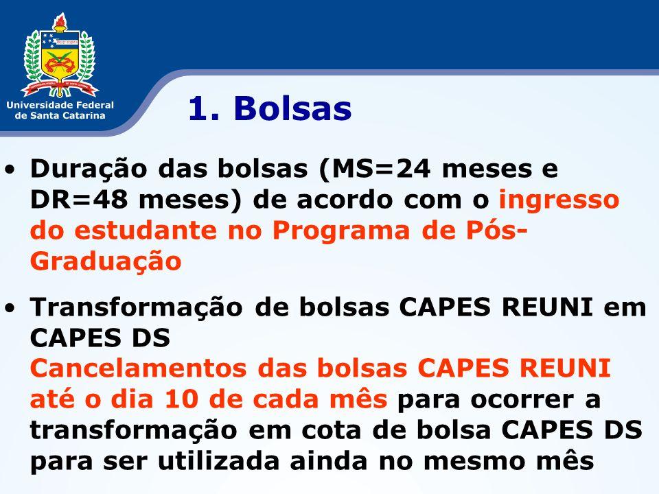 1. Bolsas Duração das bolsas (MS=24 meses e DR=48 meses) de acordo com o ingresso do estudante no Programa de Pós-Graduação.