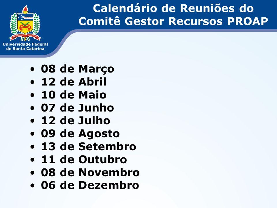 Calendário de Reuniões do Comitê Gestor Recursos PROAP