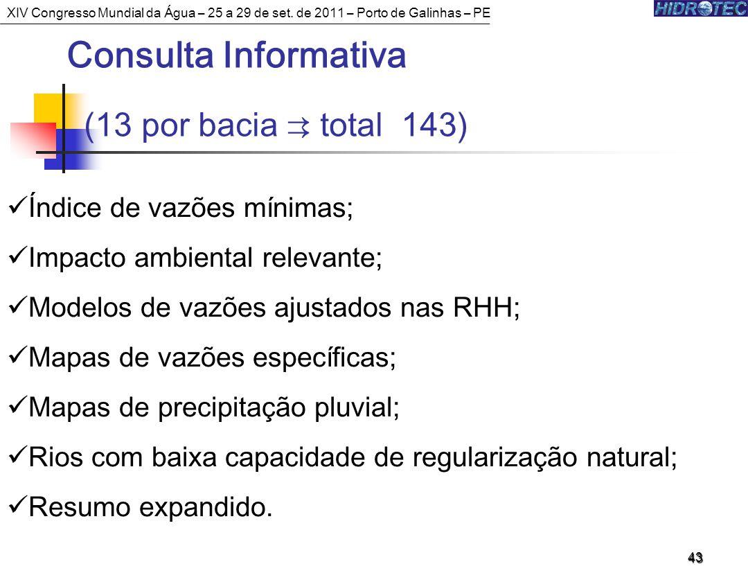 Consulta Informativa (13 por bacia ⇉ total 143)