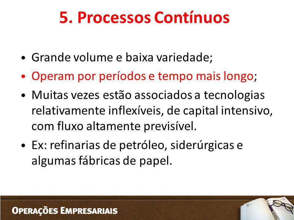 5. Processos Contínuos Grande volume e baixa variedade;