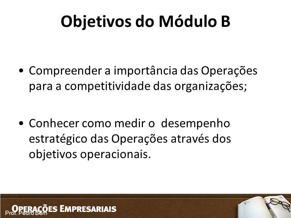 Objetivos do Módulo B Compreender a importância das Operações para a competitividade das organizações;