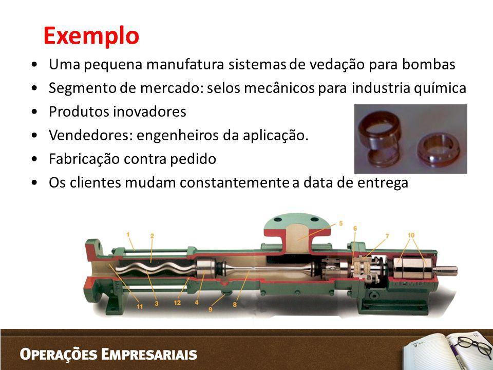 Exemplo Uma pequena manufatura sistemas de vedação para bombas