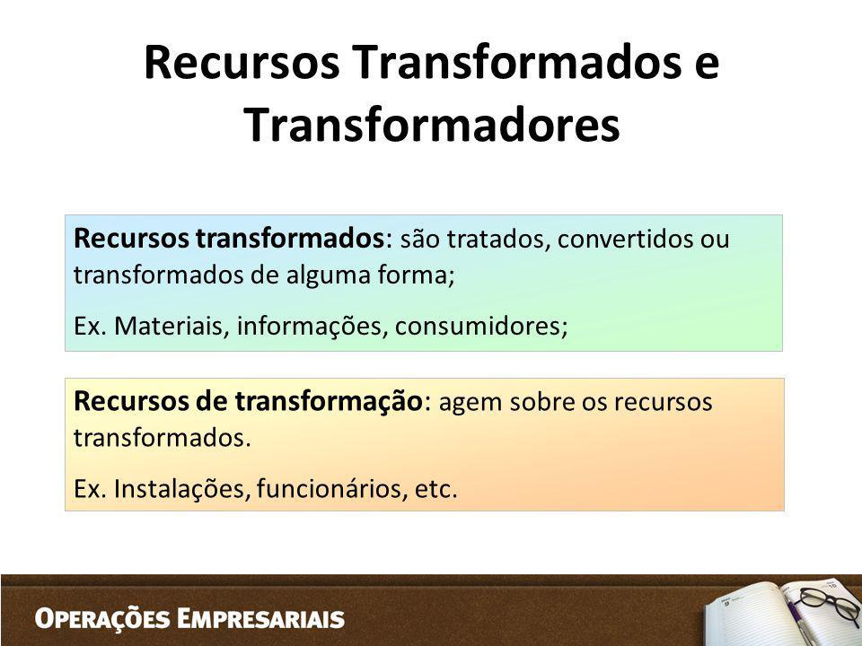 Recursos Transformados e Transformadores
