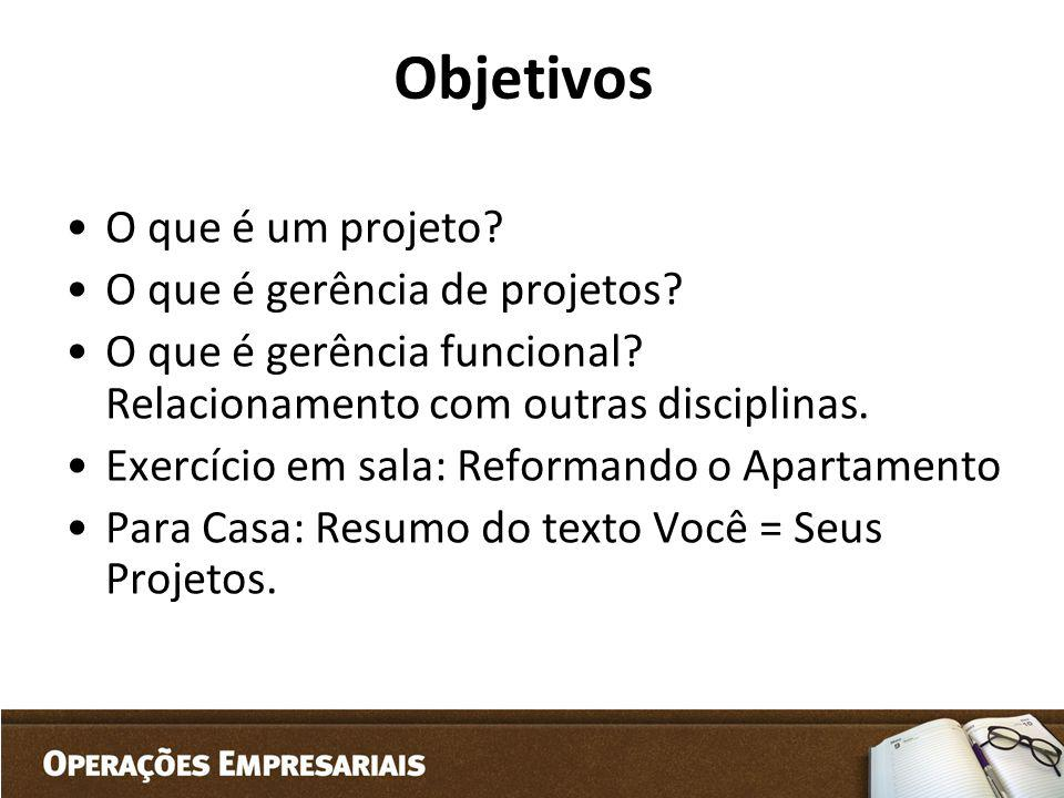 Objetivos O que é um projeto O que é gerência de projetos