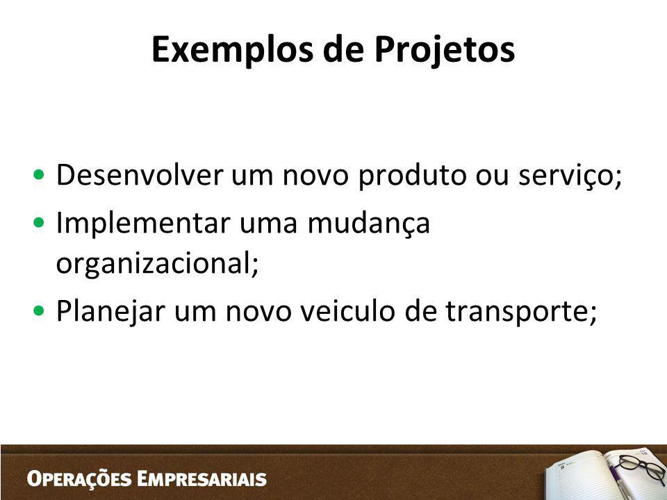 Exemplos de Projetos Desenvolver um novo produto ou serviço;