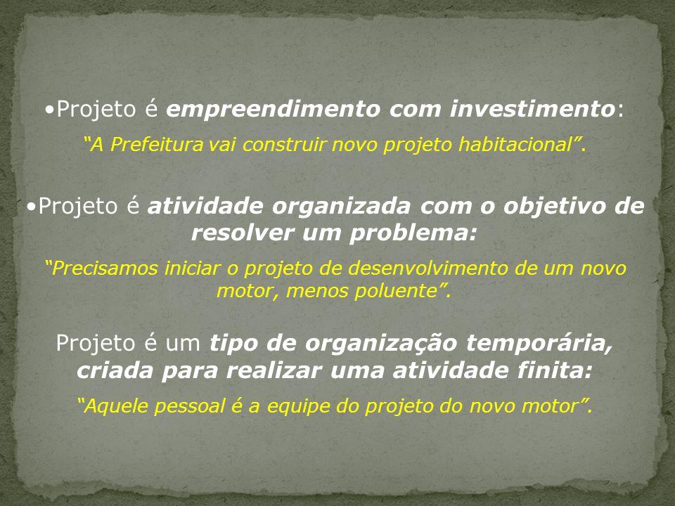 Projeto é empreendimento com investimento: