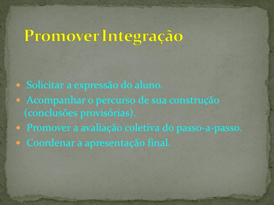 Promover Integração Solicitar a expressão do aluno.