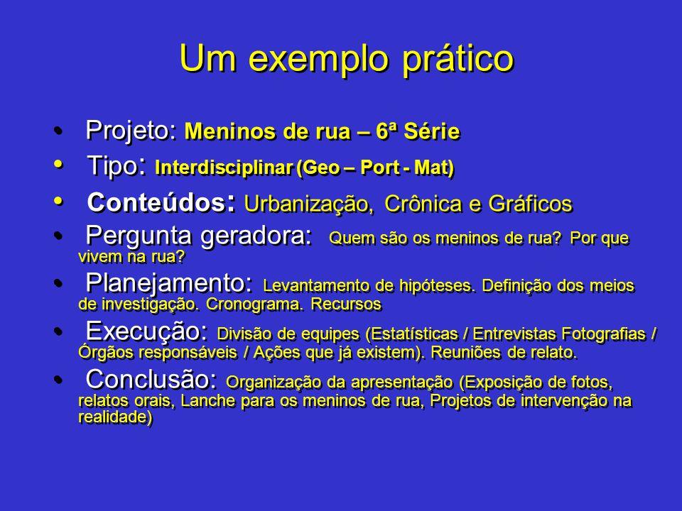 Um exemplo prático Tipo: Interdisciplinar (Geo – Port - Mat)