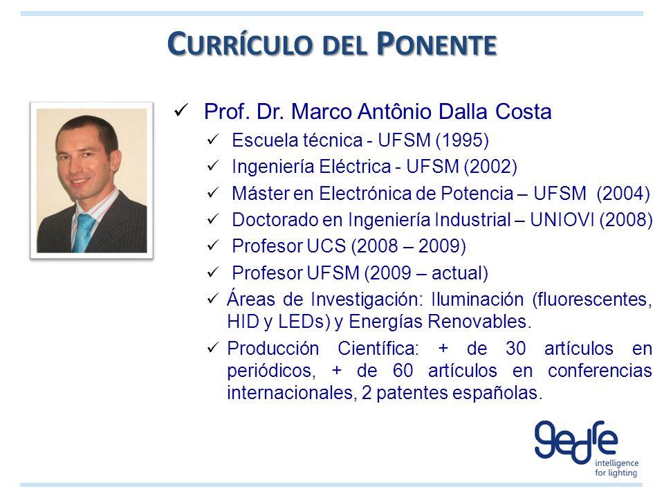 Currículo del Ponente Prof. Dr. Marco Antônio Dalla Costa