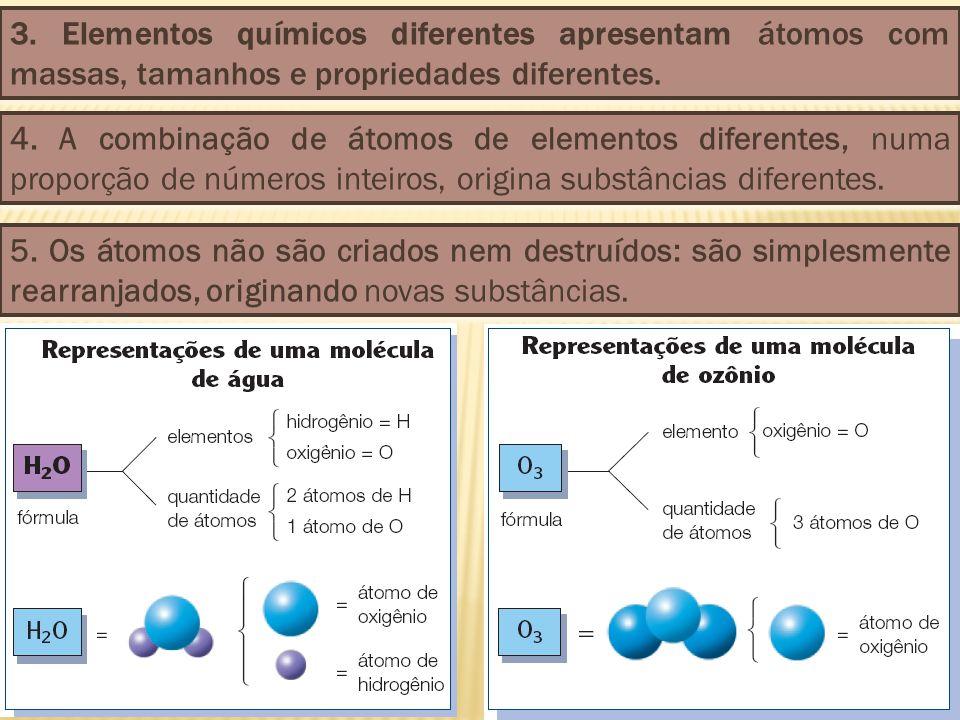 3. Elementos químicos diferentes apresentam átomos com massas, tamanhos e propriedades diferentes.