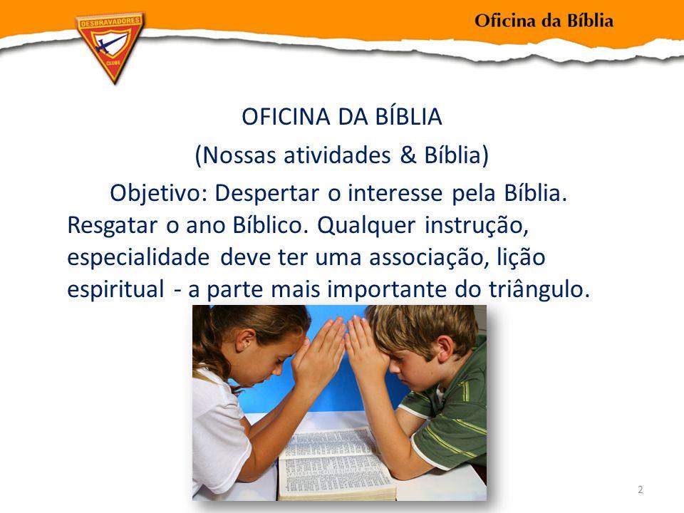 OFICINA DA BÍBLIA (Nossas atividades & Bíblia) Objetivo: Despertar o interesse pela Bíblia.