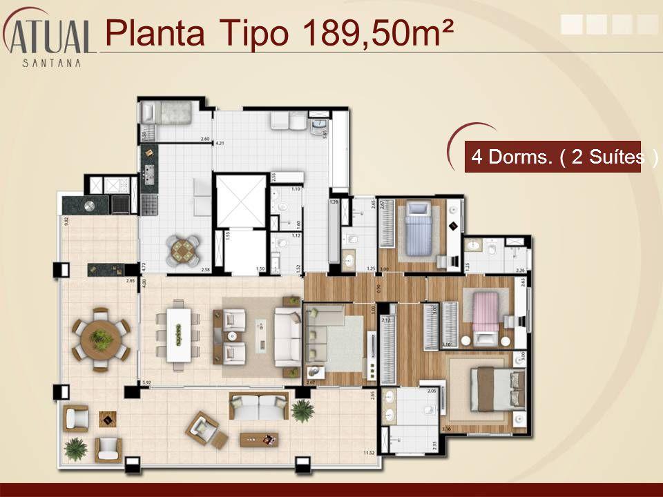 Planta Tipo 189,50m² 4 Dorms. ( 2 Suítes )