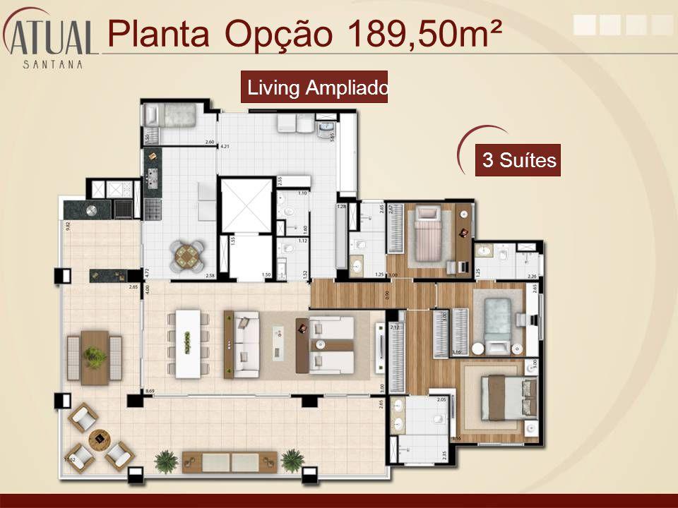 Planta Opção 189,50m² Living Ampliado 3 Suítes