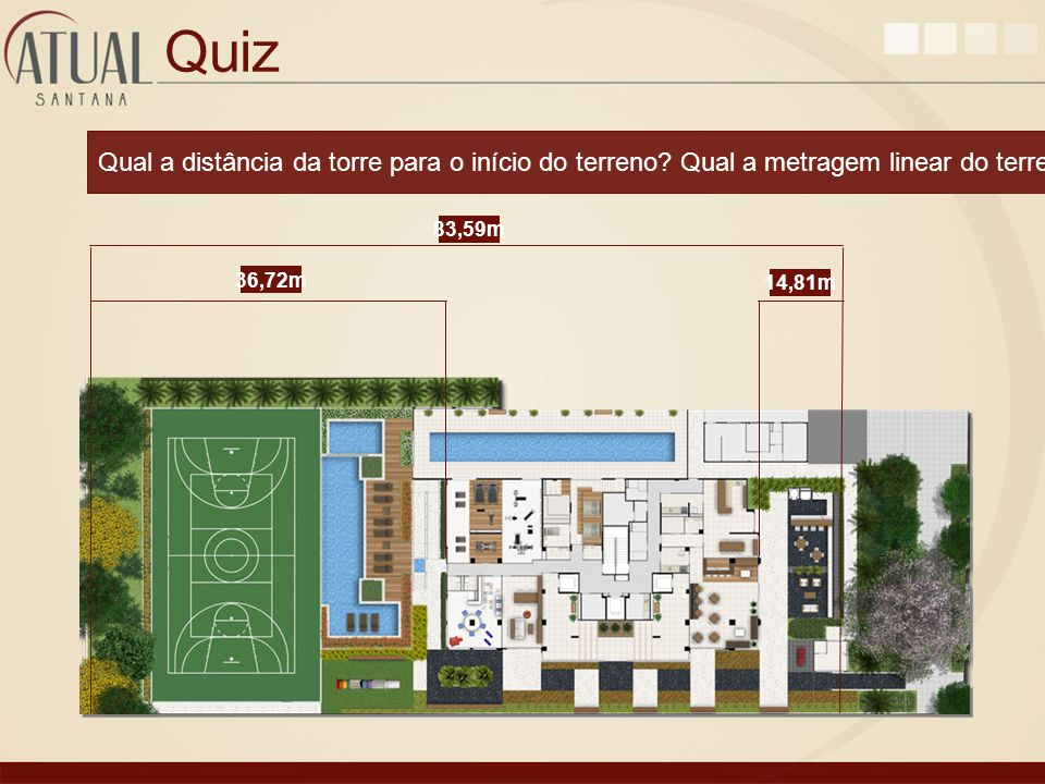 Quiz Qual a distância da torre para o início do terreno Qual a metragem linear do terreno 83,59m.