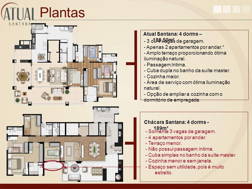 Plantas Atual Santana: 4 dorms – 189,50m² - 3 ou 4 vagas de garagem.