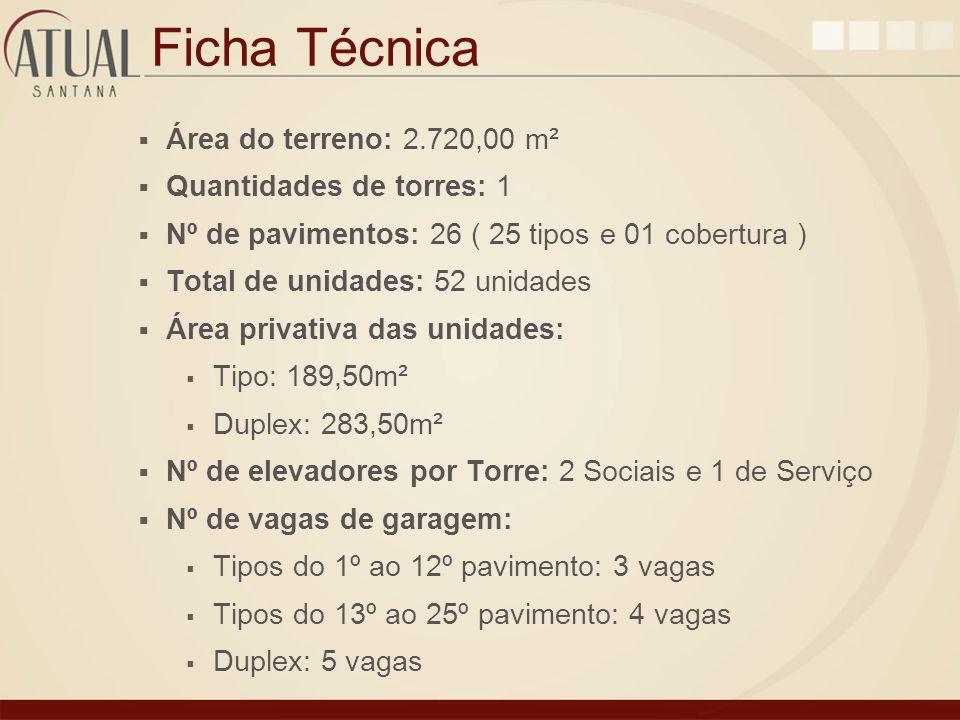 Ficha Técnica Área do terreno: 2.720,00 m² Quantidades de torres: 1