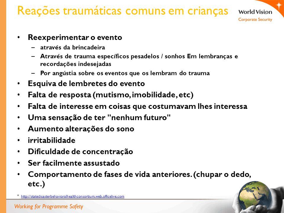 Reações traumáticas comuns em crianças