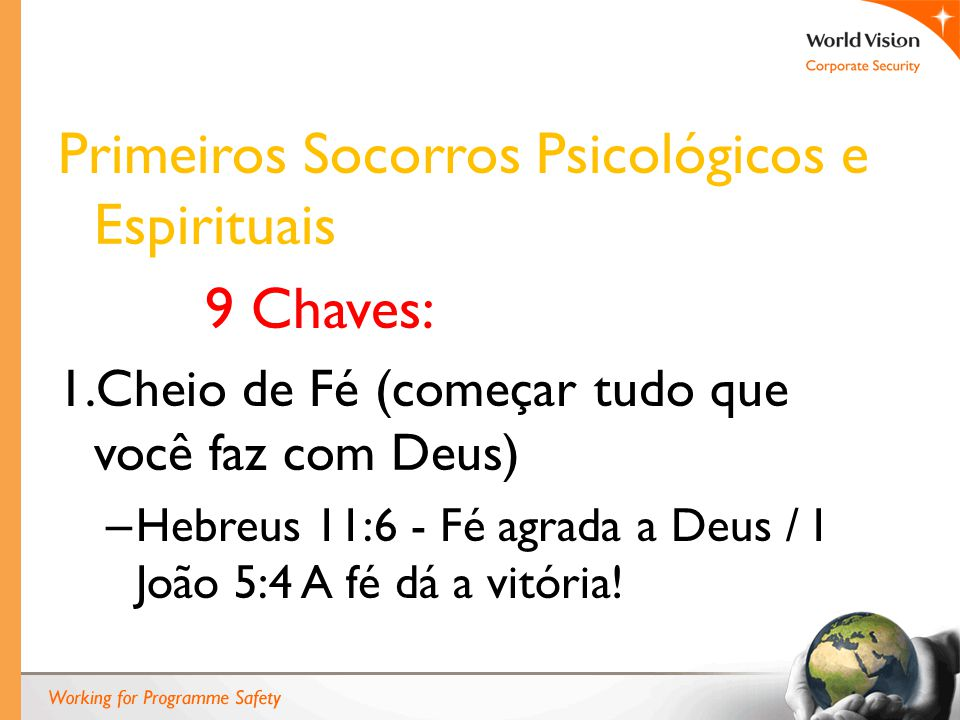 Primeiros Socorros Psicológicos e Espirituais 9 Chaves: