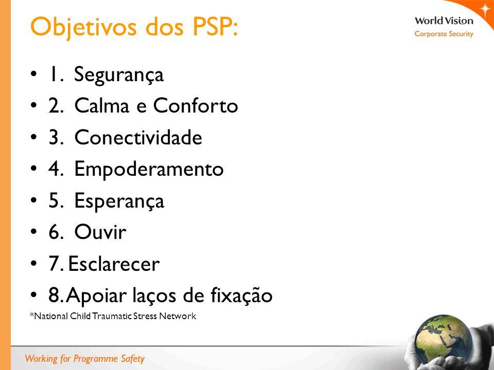 Objetivos dos PSP: 1. Segurança 2. Calma e Conforto 3. Conectividade