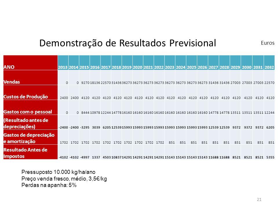 Demonstração de Resultados Previsional