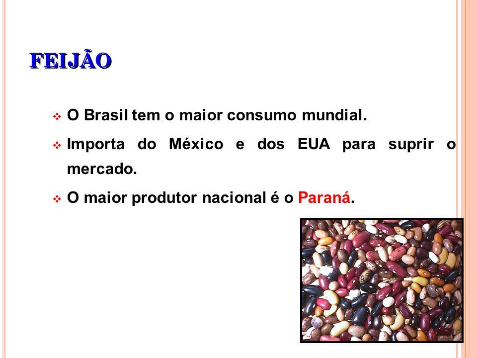 FEIJÃO O Brasil tem o maior consumo mundial.