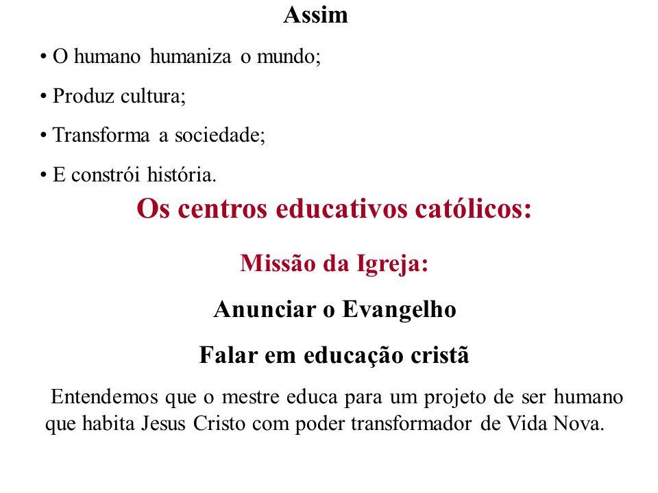 Os centros educativos católicos: Falar em educação cristã