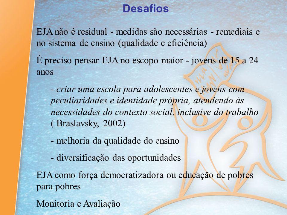 Desafios EJA não é residual - medidas são necessárias - remediais e no sistema de ensino (qualidade e eficiência)