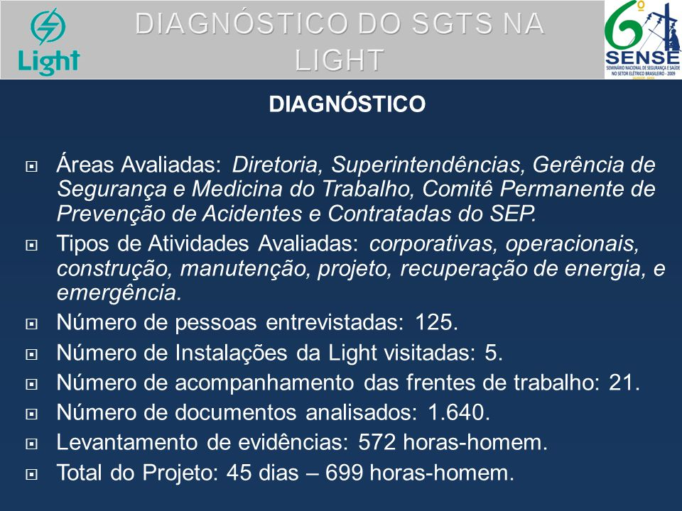 DIAGNÓSTICO DO SGTS NA LIGHT