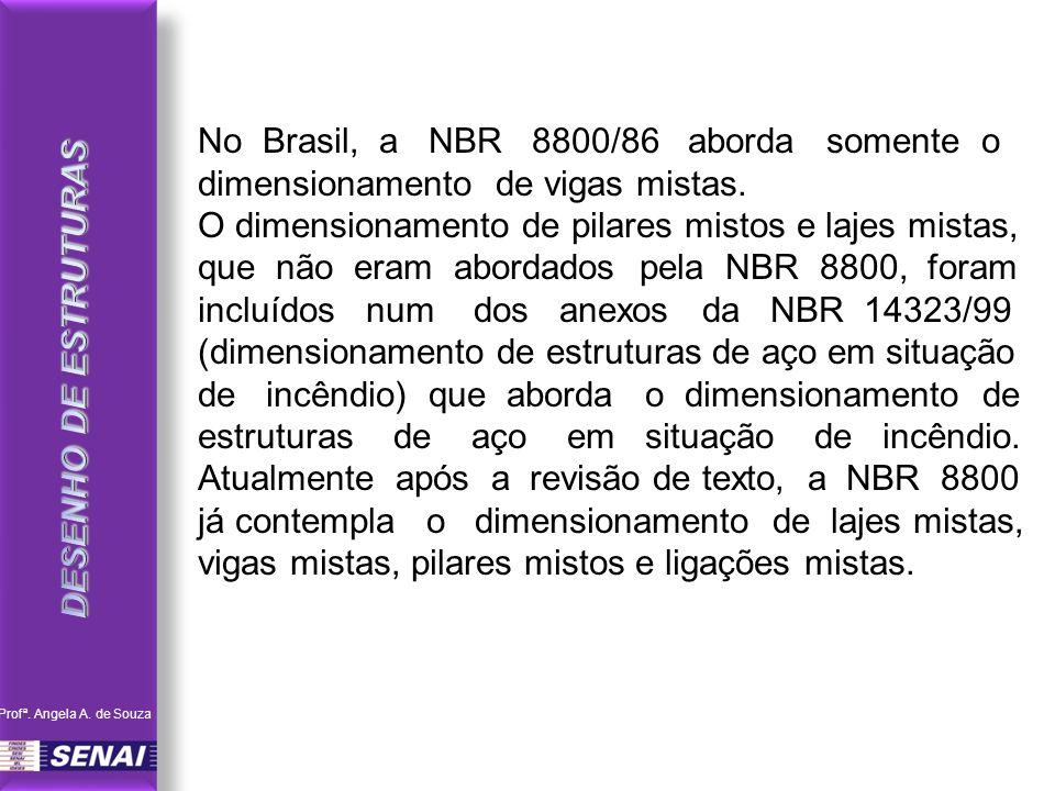DESENHO DE ESTRUTURAS No Brasil, a NBR 8800/86 aborda somente o dimensionamento de vigas mistas.