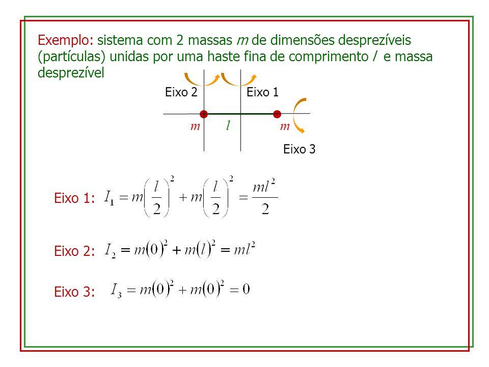 Exemplo: sistema com 2 massas m de dimensões desprezíveis (partículas) unidas por uma haste fina de comprimento l e massa desprezível