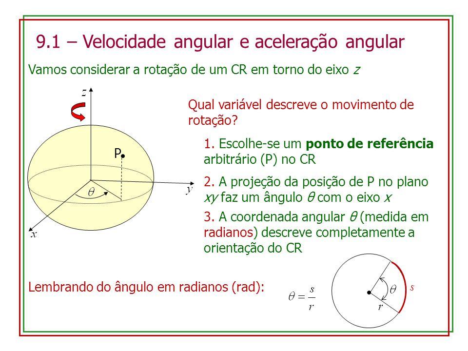9.1 – Velocidade angular e aceleração angular