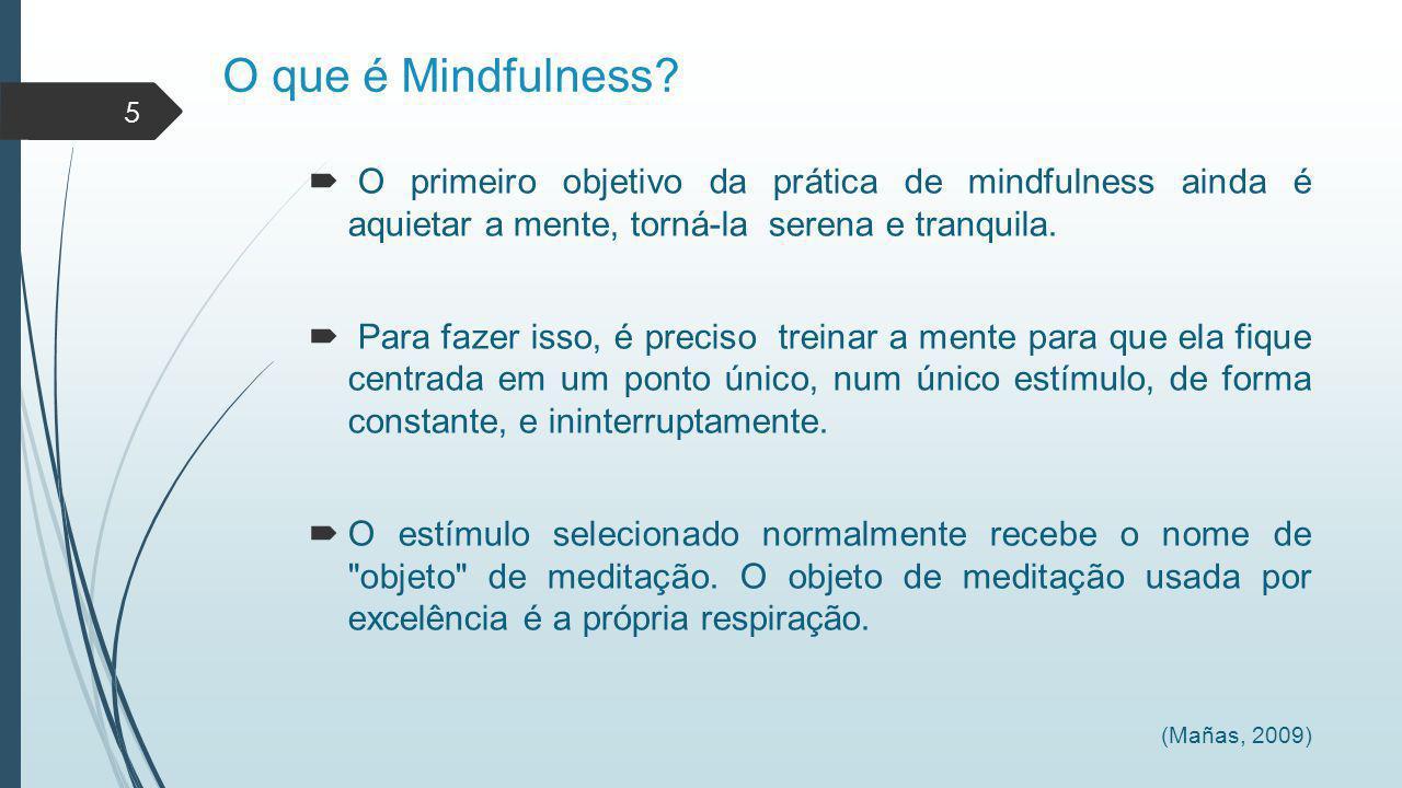 O que é Mindfulness O primeiro objetivo da prática de mindfulness ainda é aquietar a mente, torná-la serena e tranquila.