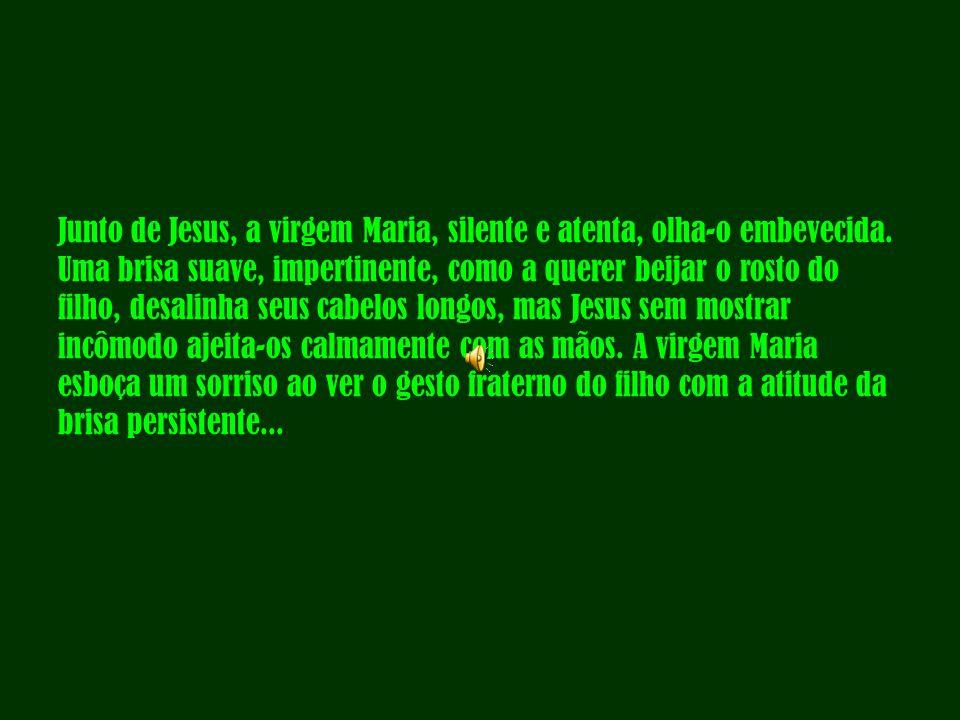 Junto de Jesus, a virgem Maria, silente e atenta, olha-o embevecida