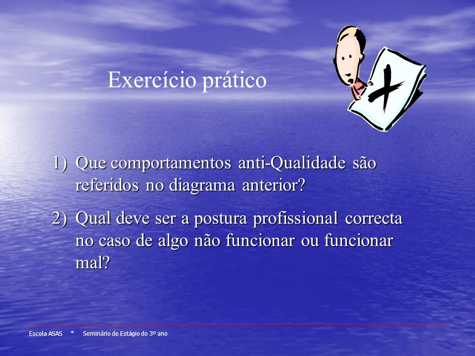 Exercício prático Que comportamentos anti-Qualidade são referidos no diagrama anterior