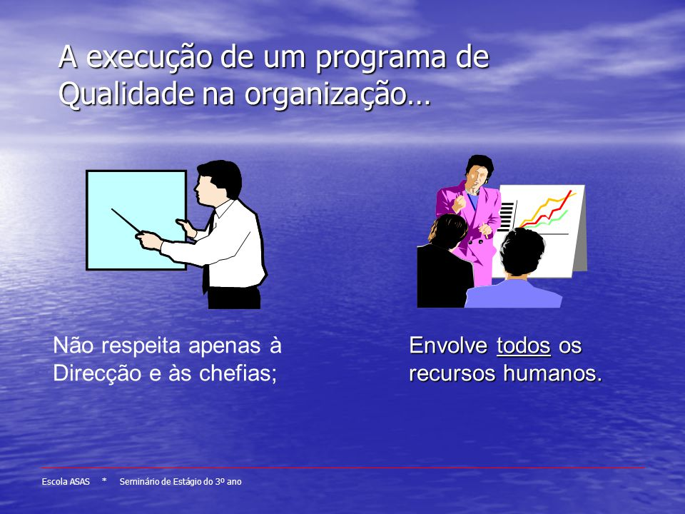 A execução de um programa de Qualidade na organização…