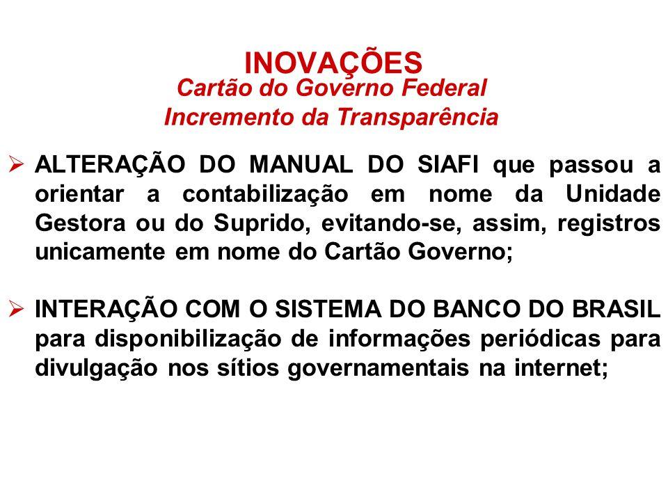Cartão do Governo Federal Incremento da Transparência