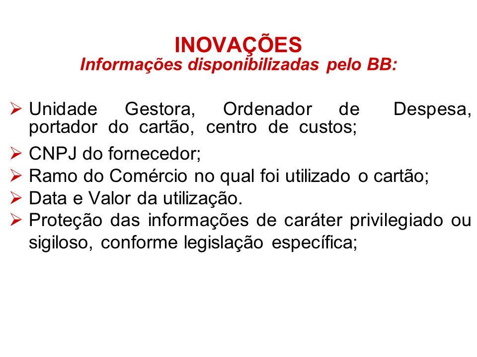 Informações disponibilizadas pelo BB: