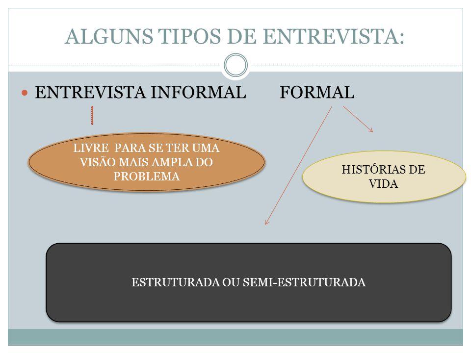 ALGUNS TIPOS DE ENTREVISTA: