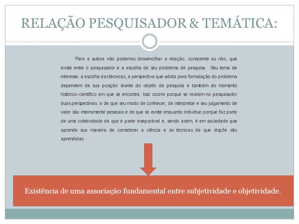 RELAÇÃO PESQUISADOR & TEMÁTICA: