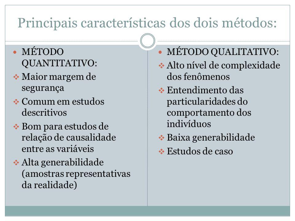 Principais características dos dois métodos: