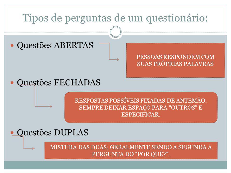 Tipos de perguntas de um questionário: