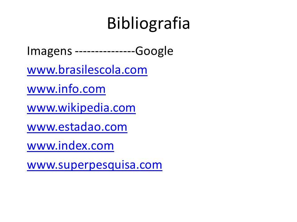 Bibliografia Imagens ---------------Google www.brasilescola.com www.info.com www.wikipedia.com www.estadao.com www.index.com www.superpesquisa.com