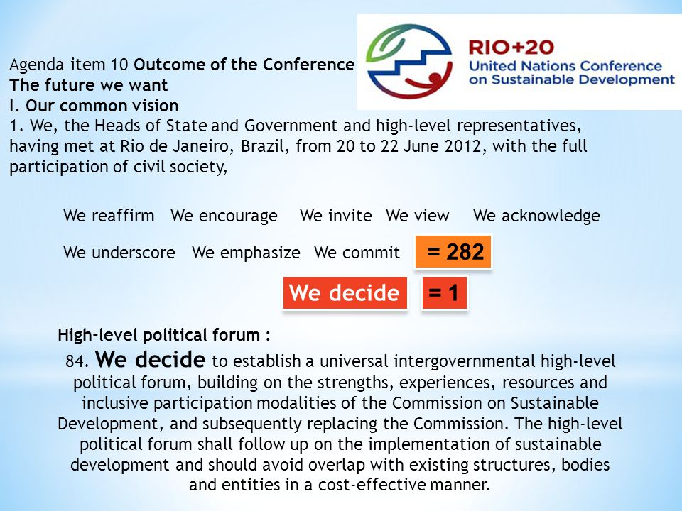 = 282 We decide = 1 Agenda item 10 Outcome of the Conference
