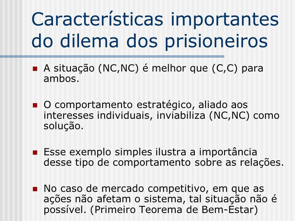 Características importantes do dilema dos prisioneiros