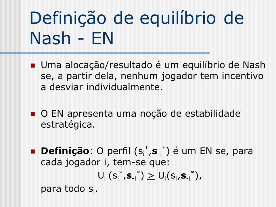 Definição de equilíbrio de Nash - EN
